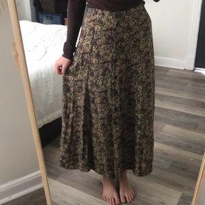Vintage Floral Button Up Midi Skirt